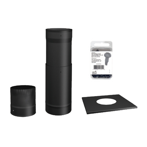 Chimney Trim Kit ~ Sp to the ceiling black stove pipe kit